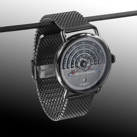 Hemi circle dial watch tomoro watch front view on hanger